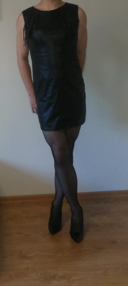Imprezowe Skórzana sukienka
