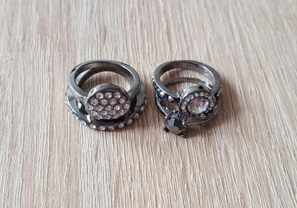 Nowe pierścionki zestaw komplet metalowe grafitowe cyrkonie