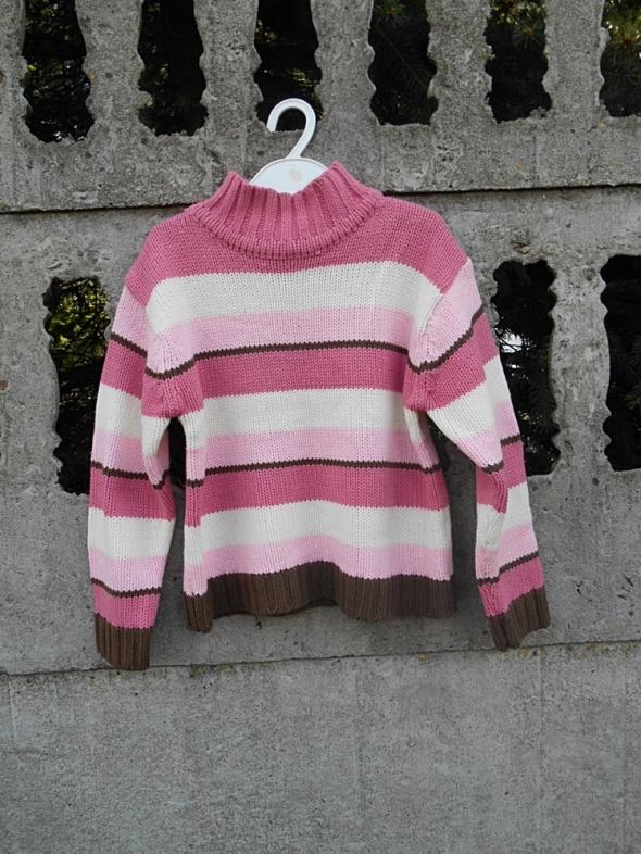 Sweter 122 Golf w paski róż na 7 lat