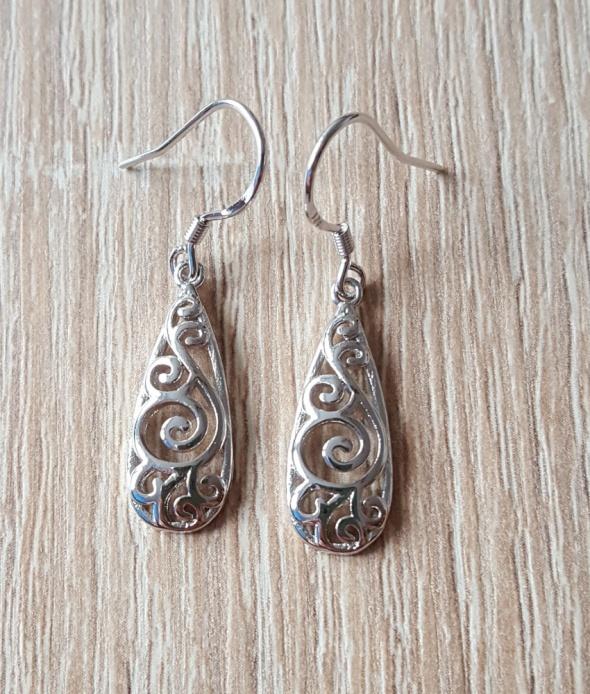 Nowe kolczyki tribal tibetan długie łezki ażurowe srebrny kolor pozłacane
