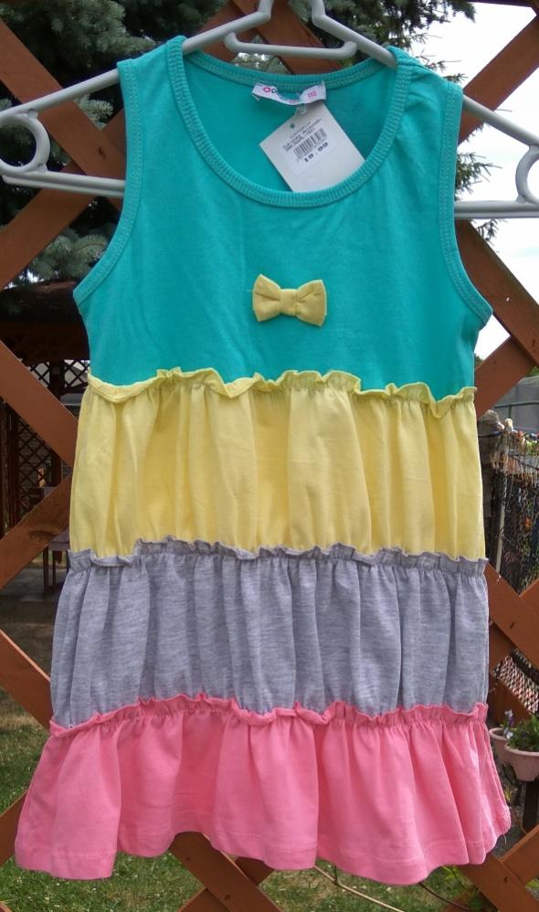 Nowa letnia kolorowa sukienka dziewczęca 104