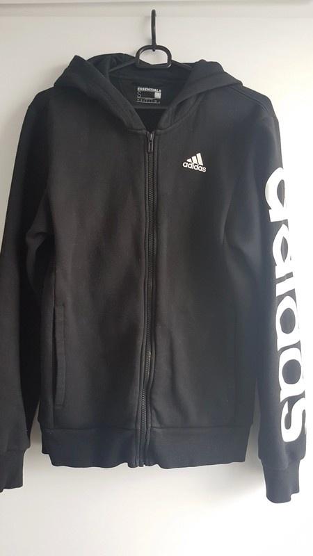 Bluza rozpinana Adidas czarna logowana kaptur oversize...