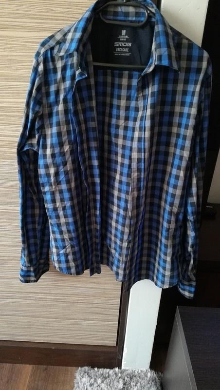 Szaro niebieska koszula w kratę na długi rękaw