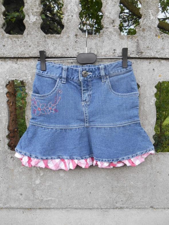 jeansowa Spódnica 134 z falbanką w kratkę