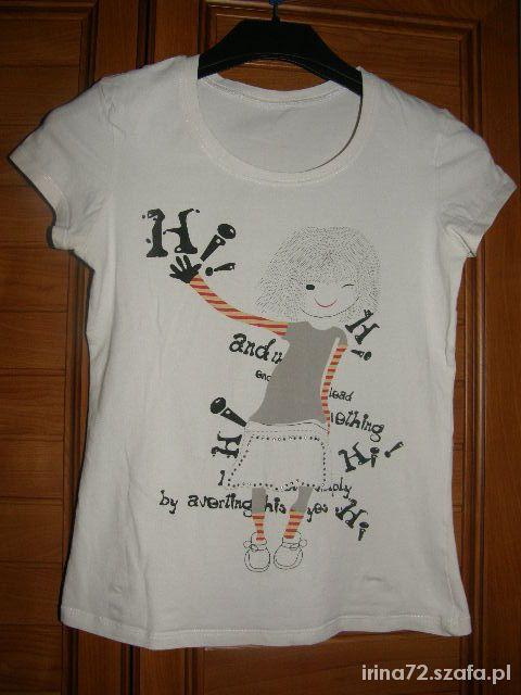 Śliczny biały t shirt z dziewczynką S