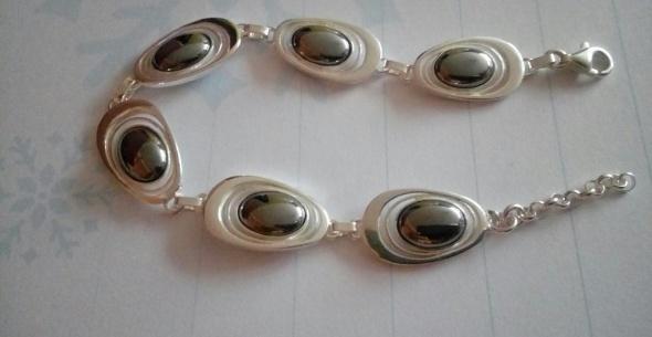 bransoletka srebrna Pawie Oczka z hematytem