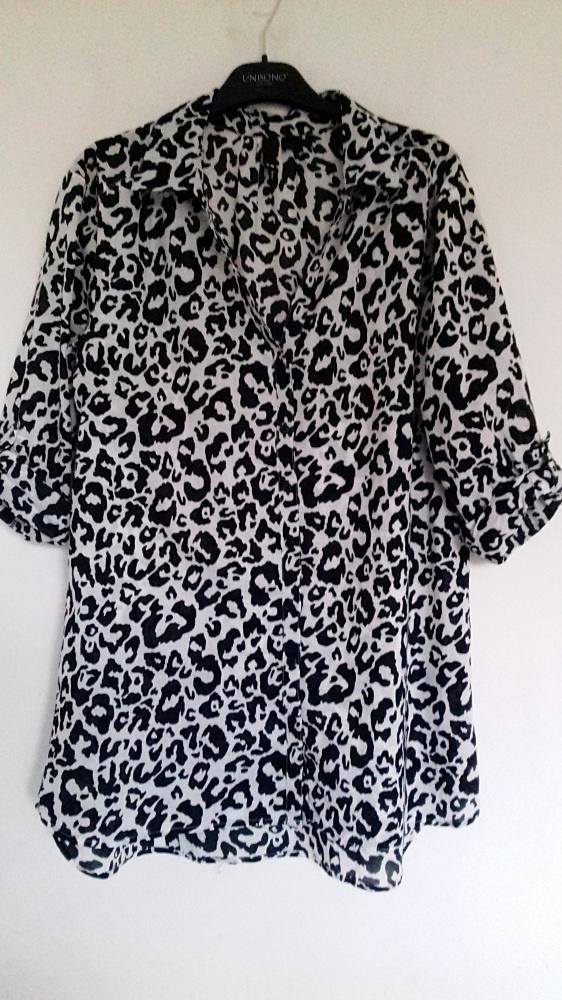 bluzka koszulowa w panterkę 38 H&M
