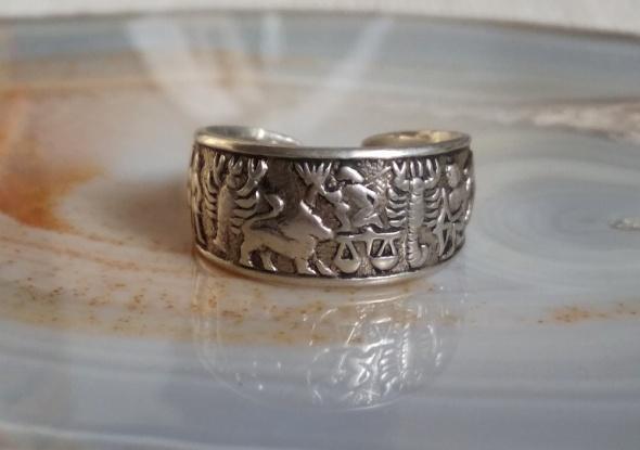 Stara srebrna obrączka Rytosztuka znaki zodiaku