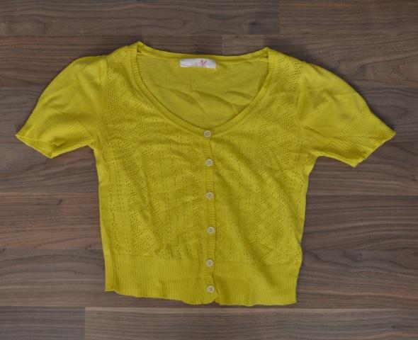 żółte ażurowe bolerko sweterek 36 s fluo