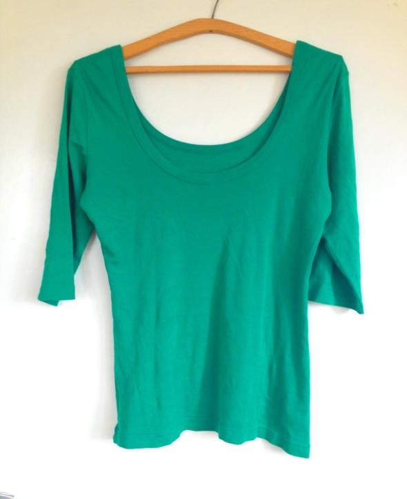 Zielona bluzka sweterek dekolt łódka rękaw 3 4 S M...