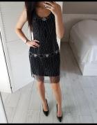 c59d2976e5 H M sukienka XS S z koralikami cekiny mała czarna na ramiączkac.