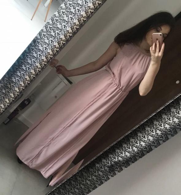 Suknie i sukienki Elegancka zwiewna sukienka Maxi brudny roz pudrowy M Reserved
