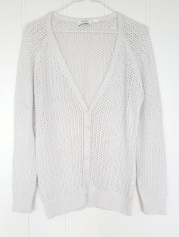 Sweter kardigan C&A Yessica L 40 szary srebrna nić ażurowy...