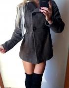 płaszcz zimowy krozkloszowany beżowy brązowy r S...
