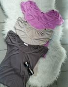bluzka beżowa brązowa różowa zestaw 3 bluzek ORSAY S...