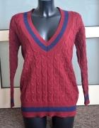 Cropp bordowy sweter college S M...