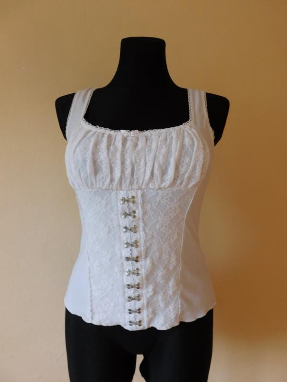 Bluzki New Look biała bluzka koronka top 38 40