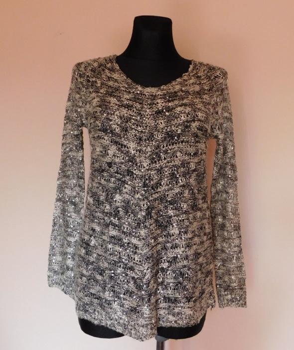 Swetry KappAhl sweterek czarny biały 32 34 36