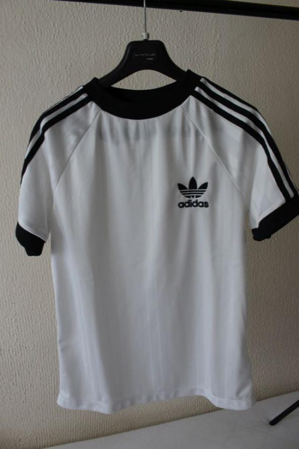 biała bawełniana koszulka adidas L