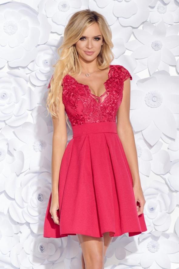 6098ad24b1 Piękna sukienka koronkowa góra dekolt FUKSJA w Suknie i sukienki ...