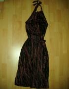 Długa czarna sukienka midi na szyję we wzory rozm 38 NEXT...