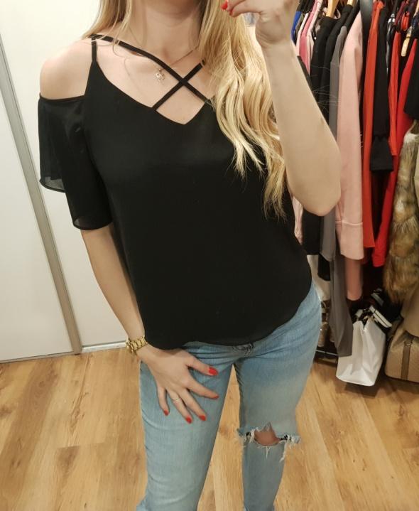 New look bluzka czarna koszulowa odkryte ramiona L