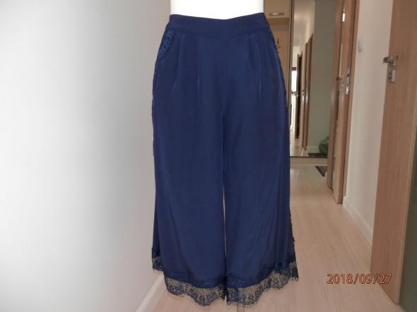 Spodnie Szerokie Nogawki Kuloty Culotte Granatowe Nowe z Metką 38