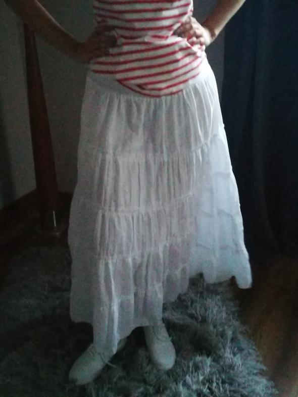 Spódnice Długa biała spódnica maxi letnia rozmiar uniwersalny