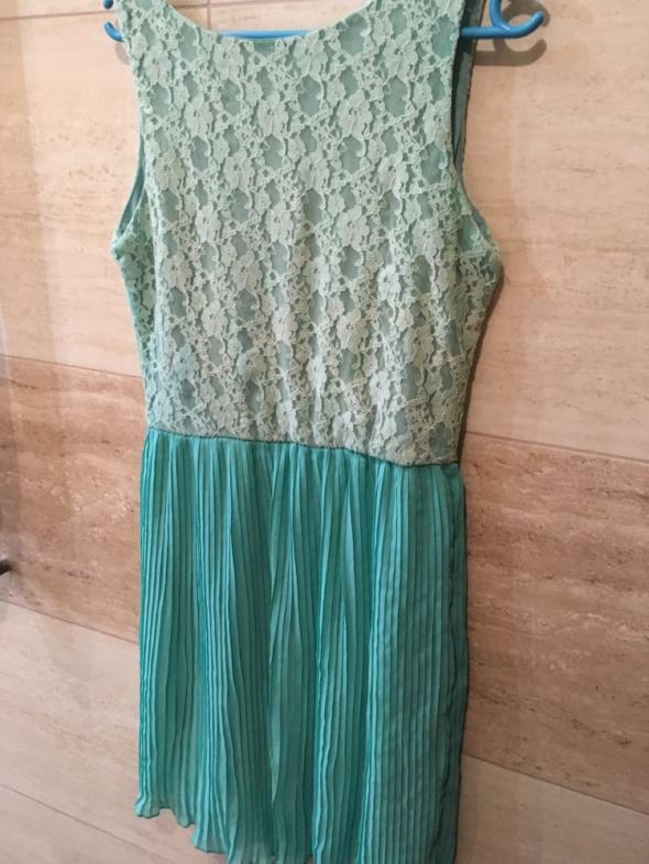 Suknie i sukienki koronkowa tiulowa sukienka zielona 36 S