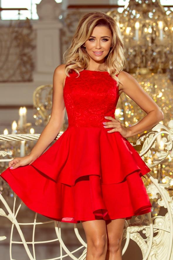0ea0ac998d Suknie i sukienki LAURA rozkloszowana sukienka koronkowa góra Czerwona  FALBANY