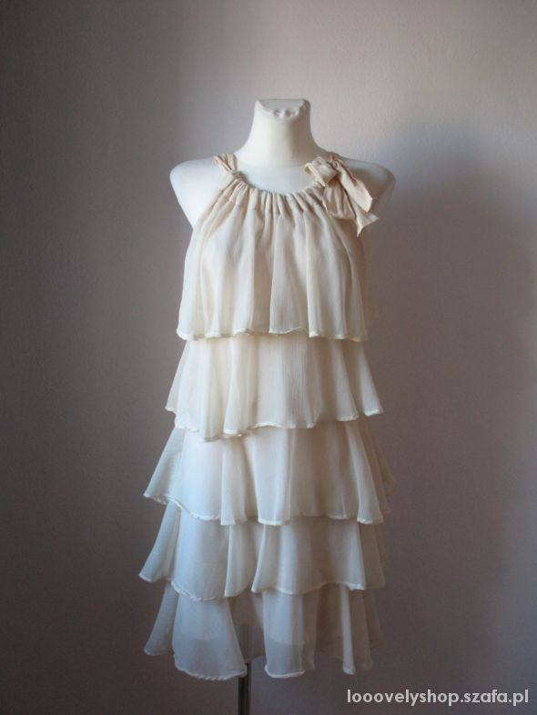 Suknie i sukienki Nowa sukienka jasny beż falbany