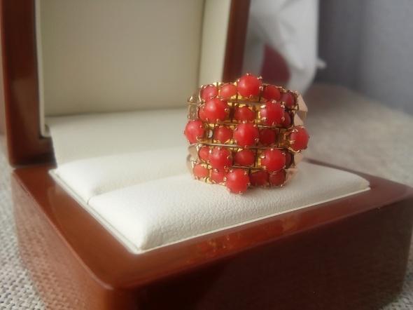 5 w 1 złoty pierścionek z koralami