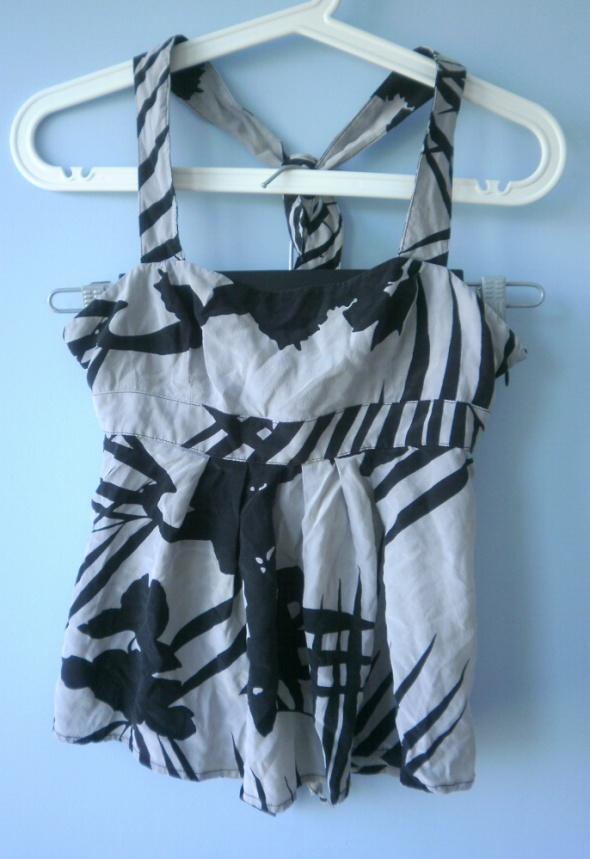 Armani Exchange nowy jedwabny top wzory bluzka...
