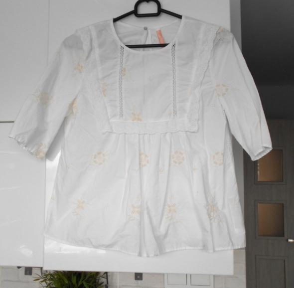 Bluzki Zara biała bluzeczka hafty baby doll