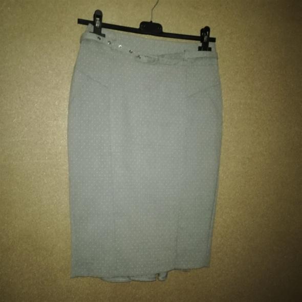 Jasnoszara elegancka spódnica ołówkowa midi 34 FF w Spódnice