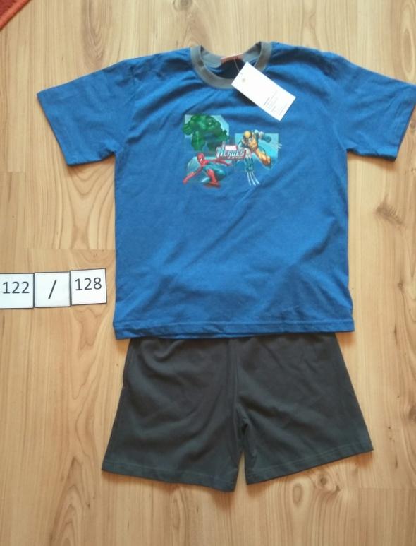 Nowa piżama letnia krótki rękaw koszula spodenki Marvel Heroes 122 128