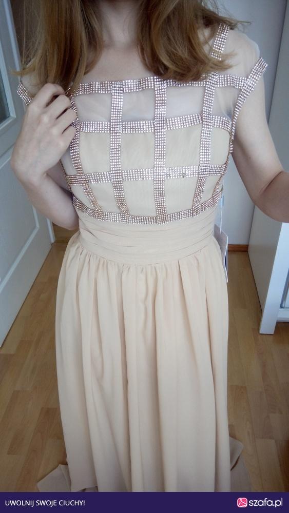 31fdf4d405 Nowa długa wieczorowa beżowa sukienka XS Jjshouse w Suknie i ...