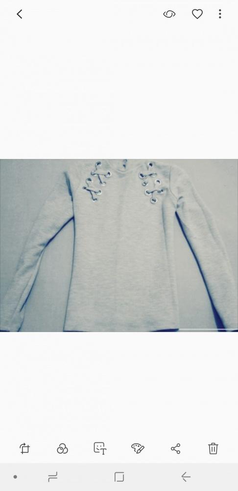 Szara prazkowana bluza wiazania S...