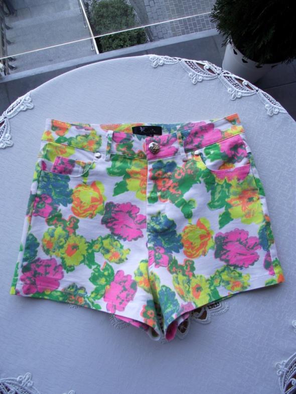 Krótkie kolorowe wzorzyste spodenki szorty damskie Cutie 38 M...