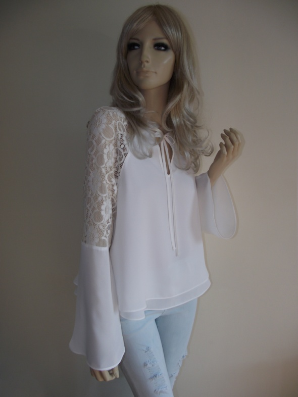 Efektowna biała bluzka z koronką Miss Selfridge M L