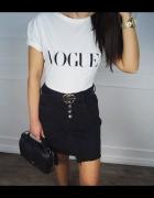 spódnica jeansowa mini szarpana czarna blogerska varlesca zara...