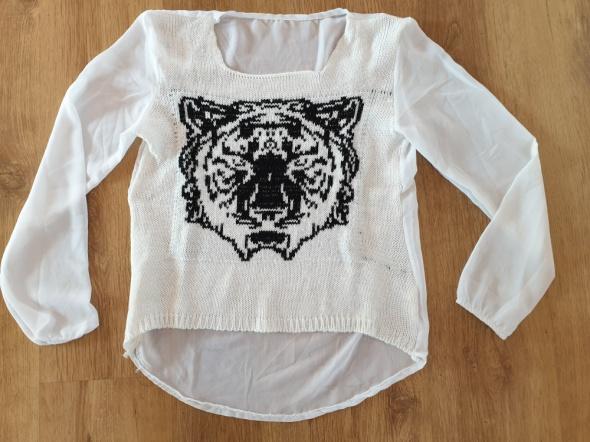 Bluzki Biala bluzeczka z tygrysem