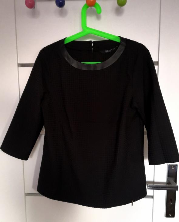 Czarna elegancka tłoczona ze skórzaną lamówką przy dekolcie 40 ...