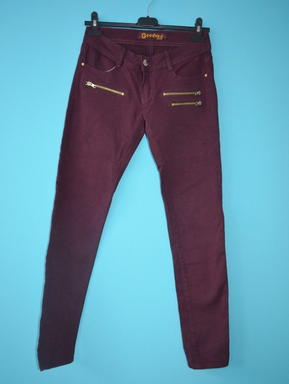 Spodnie burgund bordo zipy