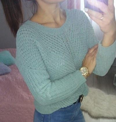 Sweter warkocze gruby splot casual baby blue