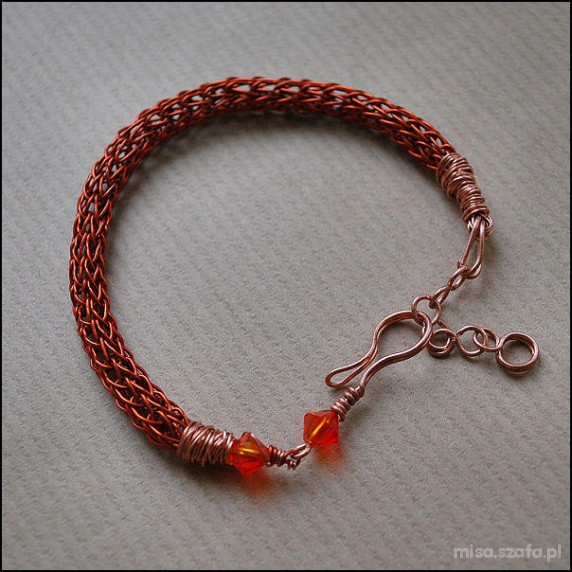 Bransoletka handmade miedziana