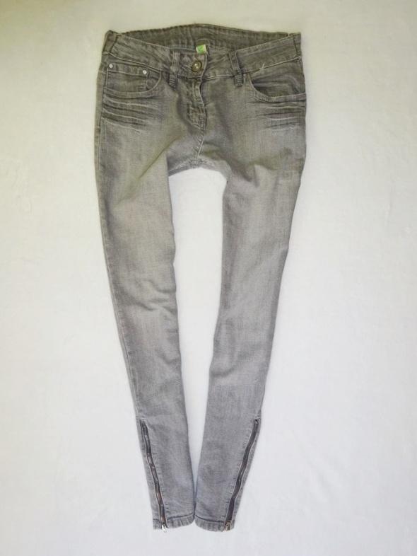 Denim Co szare spodnie rurki z zamkami zip 36 S...