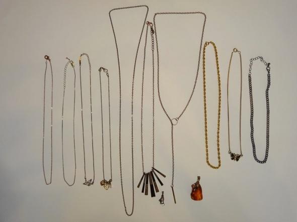 zestaw biżuterii naszyjniki łańcuszki 12 szt