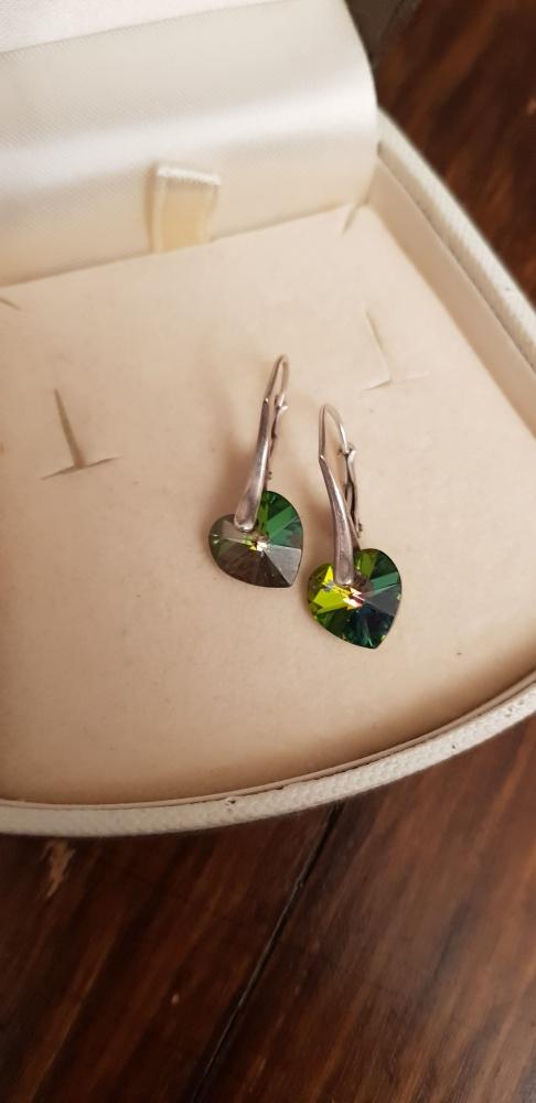 Kolczyki Swarovski srebro 925 zielone serca