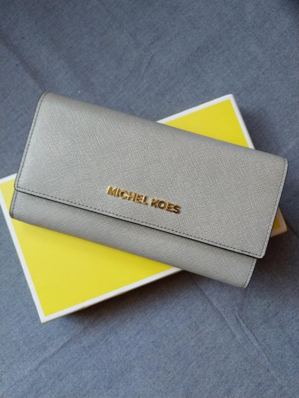 MK portfel skórzany skóra siwy Gray pudełko Prezent